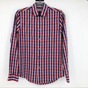 Express Plaid Button Down Shirt Fitted Red & Blue